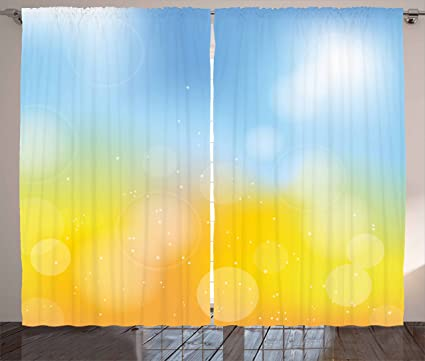 Amazon.com: Yellow and Blue Curtains by Ambesonne, Gradient Toned ...