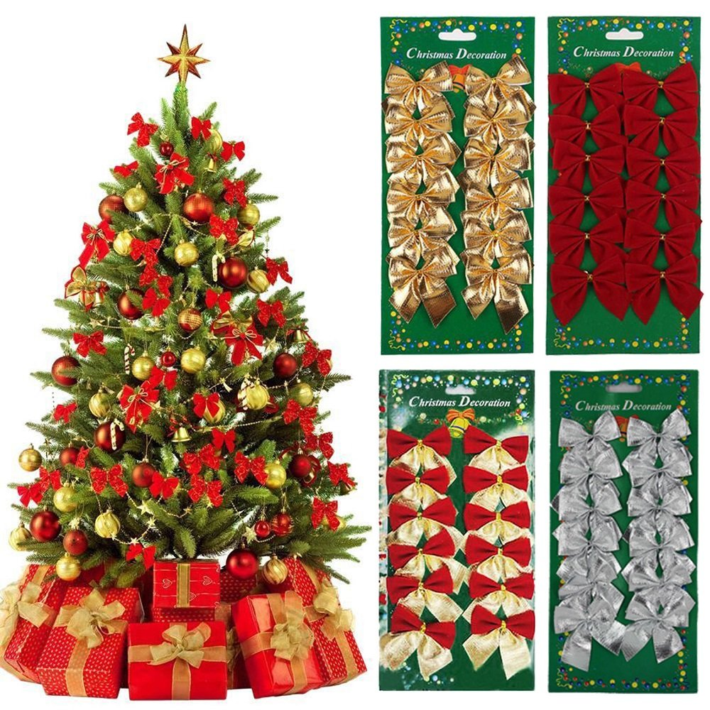 Decoration sapin noel rouge for Noeud decoration noel