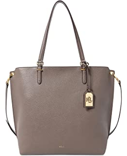 c6aa69b29 Lauren Ralph Lauren Womens Abby Pebbled Convertible Tote Handbag Gray Large