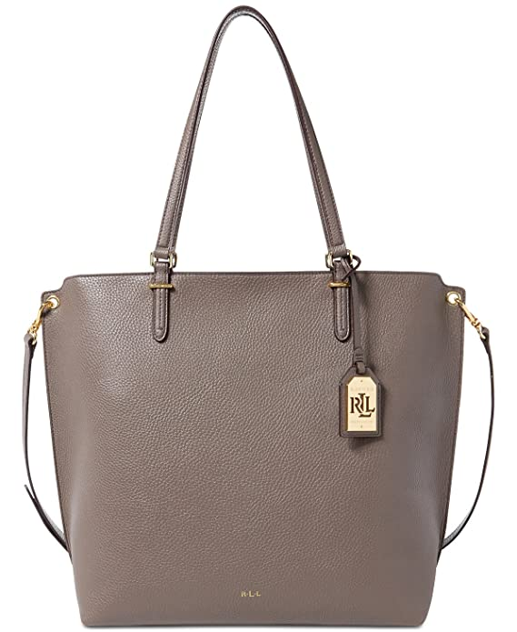 6a9959c797b Amazon.com  Lauren Ralph Lauren Womens Abby Pebbled Convertible Tote  Handbag Gray Large  Shoes
