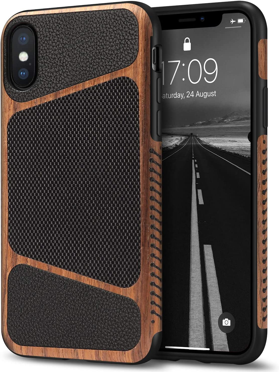 Tasikar Compatible with iPhone Xs Max Case Easy Grip Wood Grain with Nylon Fabric Leather Design Compatible with iPhone Xs Max