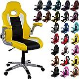 """RACEMASTER® Chaise de bureau """"GT Series One"""" Fauteuil de bureau Chaise Gamer, Siège Gaming accoudoirs pliants, base à cinq étoiles XL, vérin à gaz avec fonction basculante couleur jaune/ noir / blanc"""