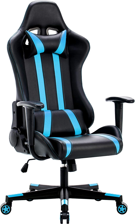 IntimaTe WM Heart Silla Gamer, Silla Gaming Silla Escritorio Giratoria, Altura Ajustable Respaldo Inclinable hasta 135 ° con Apoyabrazos Fijos (Azul)