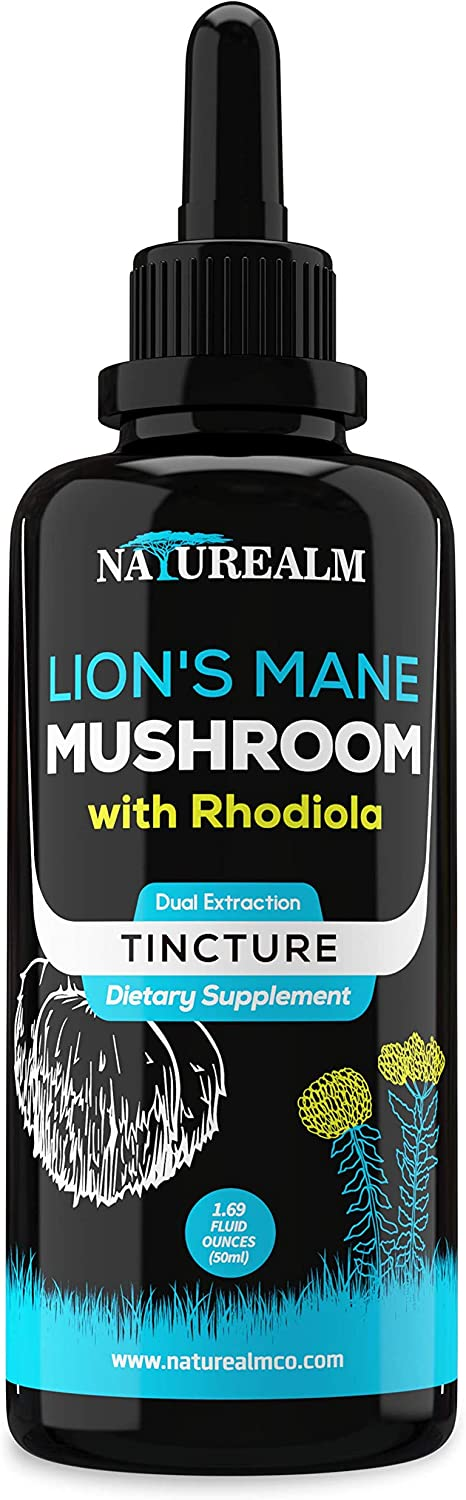 Naturealm Organic Lion s Mane Mushroom Rhodiola Rosea Liquid Extract – Nootropic Adaptogen for Memory, Focus, Mental Clarity, Nerve Health, Mood, Stress Support, Energy – 50ml