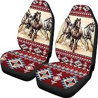 Belidome Autostoelhoezen 2 stuks, universeel, zacht, Durebla, rode Zuidwest-stijl, 2 stuks, Aztekenpatroon en paard
