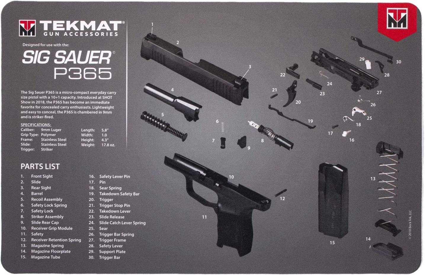 TekMat Cleaning Mat for use with Sig Sauer P10, Black (TEK-10-SIGP10)