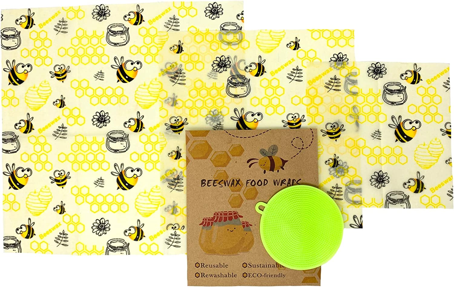 Beeswax Reusable Food Wraps w/Free Produce Scrubber - 3 Sizes - Nature's Solution to Plastic Food Wrap Alternatives - Fresher, Longer, Portable, Washable by Rich Rose Supply Co. (Honey Bees)
