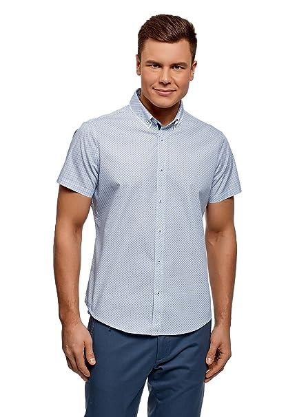 oodji Ultra Hombre Camisa Ajustada con Acabado Contrastado en el Cuello, Blanco, 38cm/