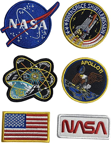 Lightbird NASA Patches 6 Pieces,Embroidered Sew On Space Patches,Tactical US Flag Patch Hook and loop backing