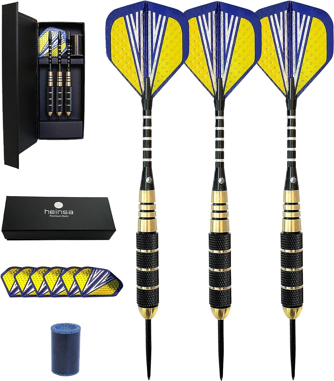 heinsa dardos punta acero profesionales 20g - Juego de 3 Dardos con Puntas Metálicas + 6 Varillas + 6 Plumas: Amazon.es: Deportes y aire libre