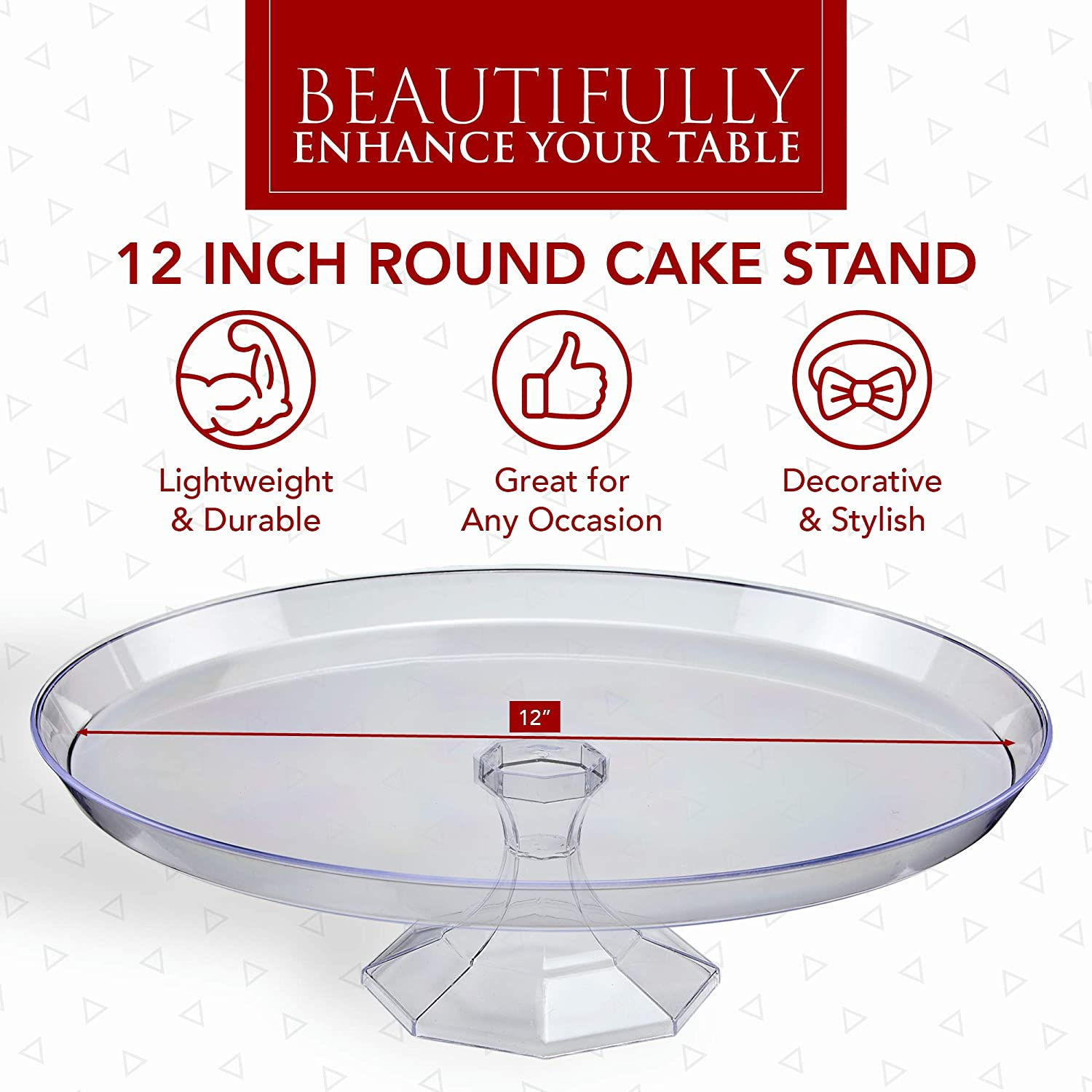 Cake Holder Plastic Cake Stands Pedestal Cake Display Stands for Wedding Cakes 13.5 Inches Disposable Cupcake Stands Cake Platter Serving Platters for Party Prestee 3 Pack Clear Dessert Stands