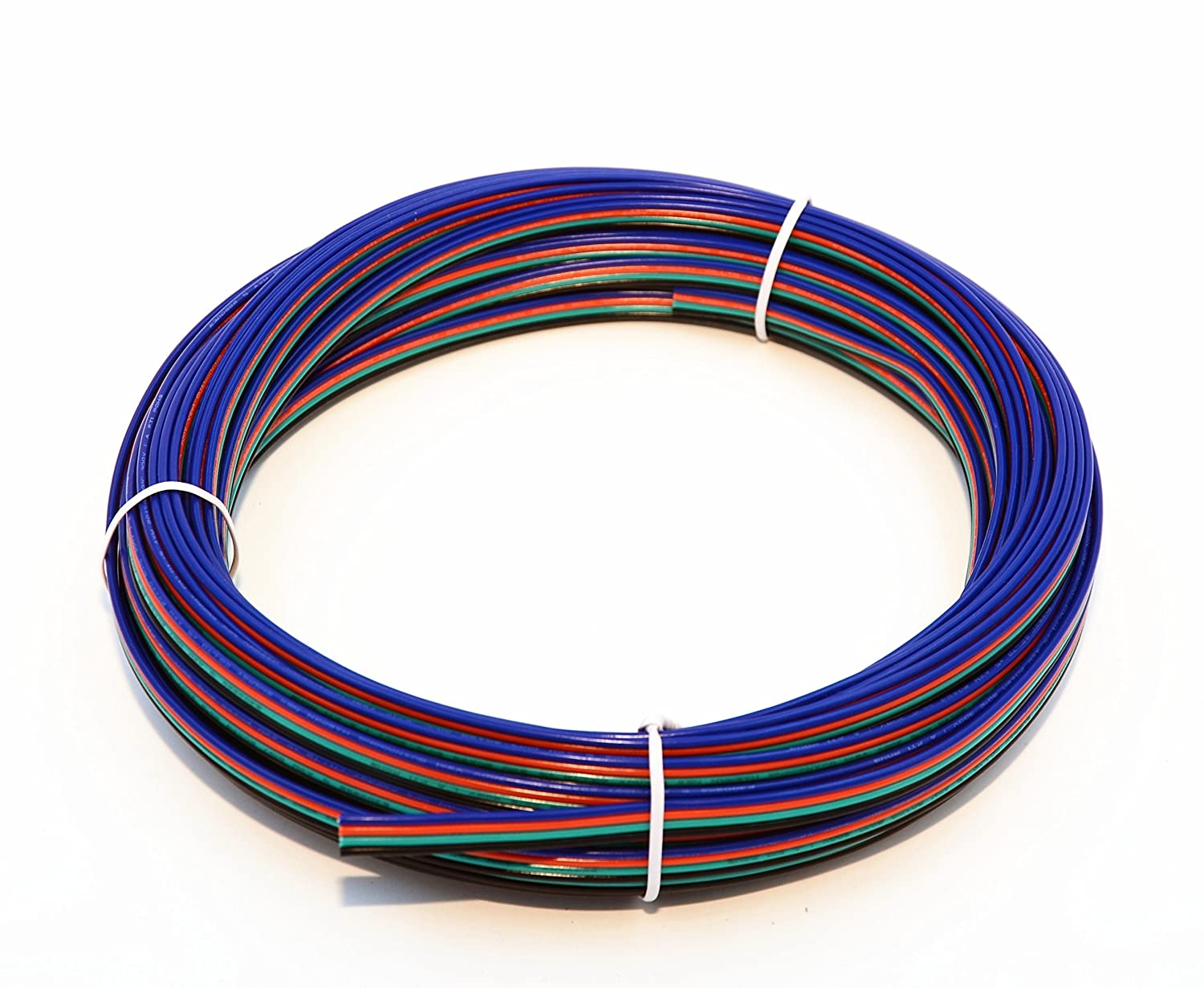 TUOFENG 22 Gauge Electrical Wire 49 Feet 4 Pin RGB Extension Cable Line Cord 4 Color for Single LED Strip Light 3528 5050