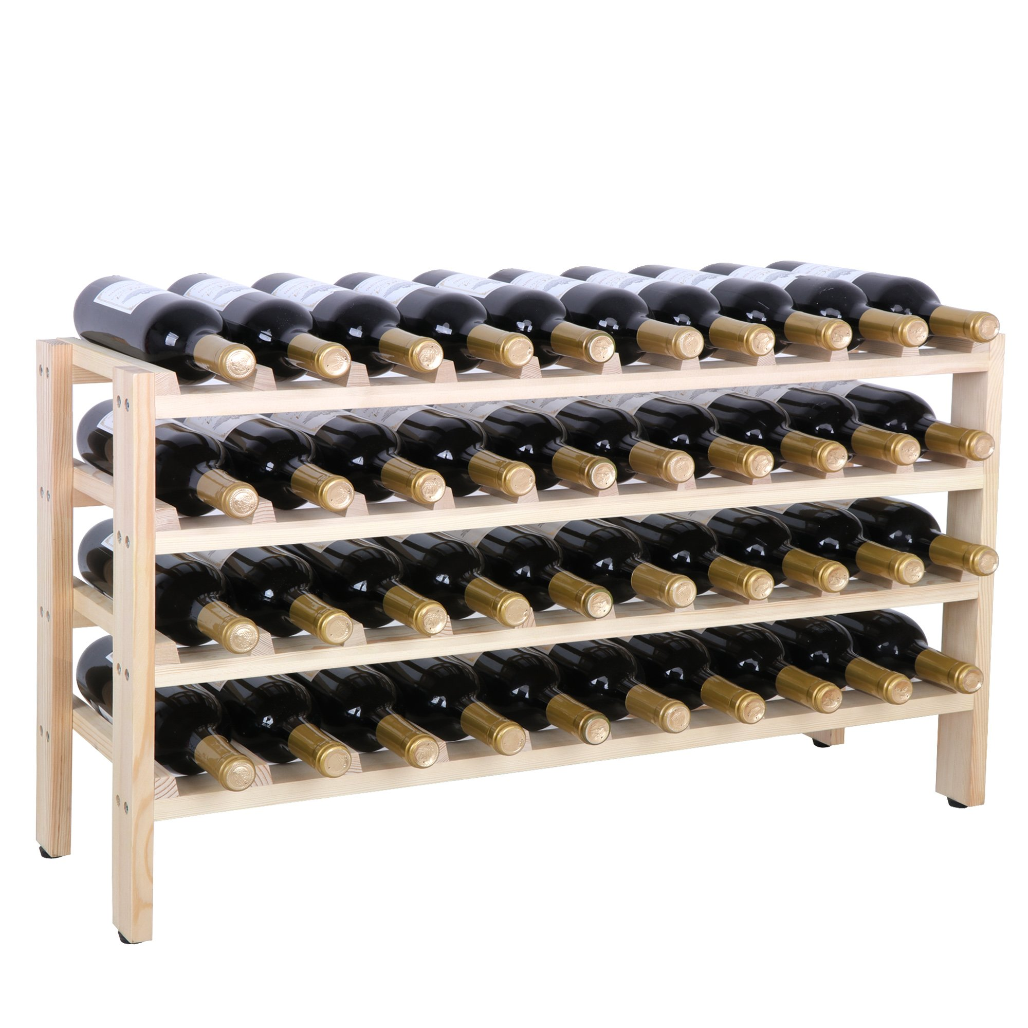 Smartxchoices 40 Bottle Wood Stackable Modular Wine Rack Wine Storage Rack Free Standing Floor Solid Wood Wine Holder Display Shelves, Screws Fixed Wobble-Free (40 Bottle)