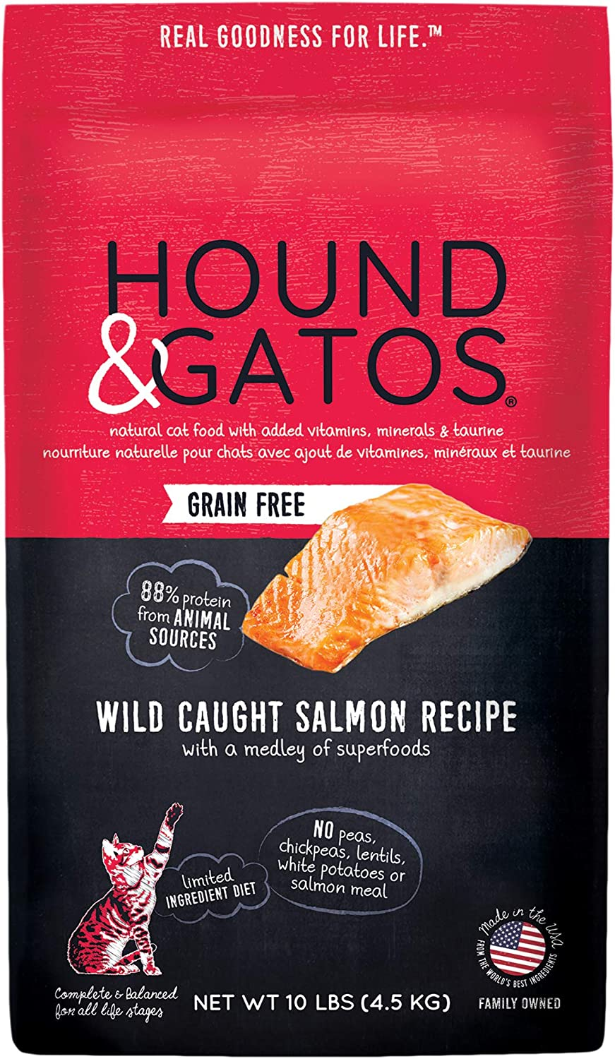 Hound & Gatos Natural Dry Cat Food, Wild Caught Salmon, For All Life Stages, Made in the USA
