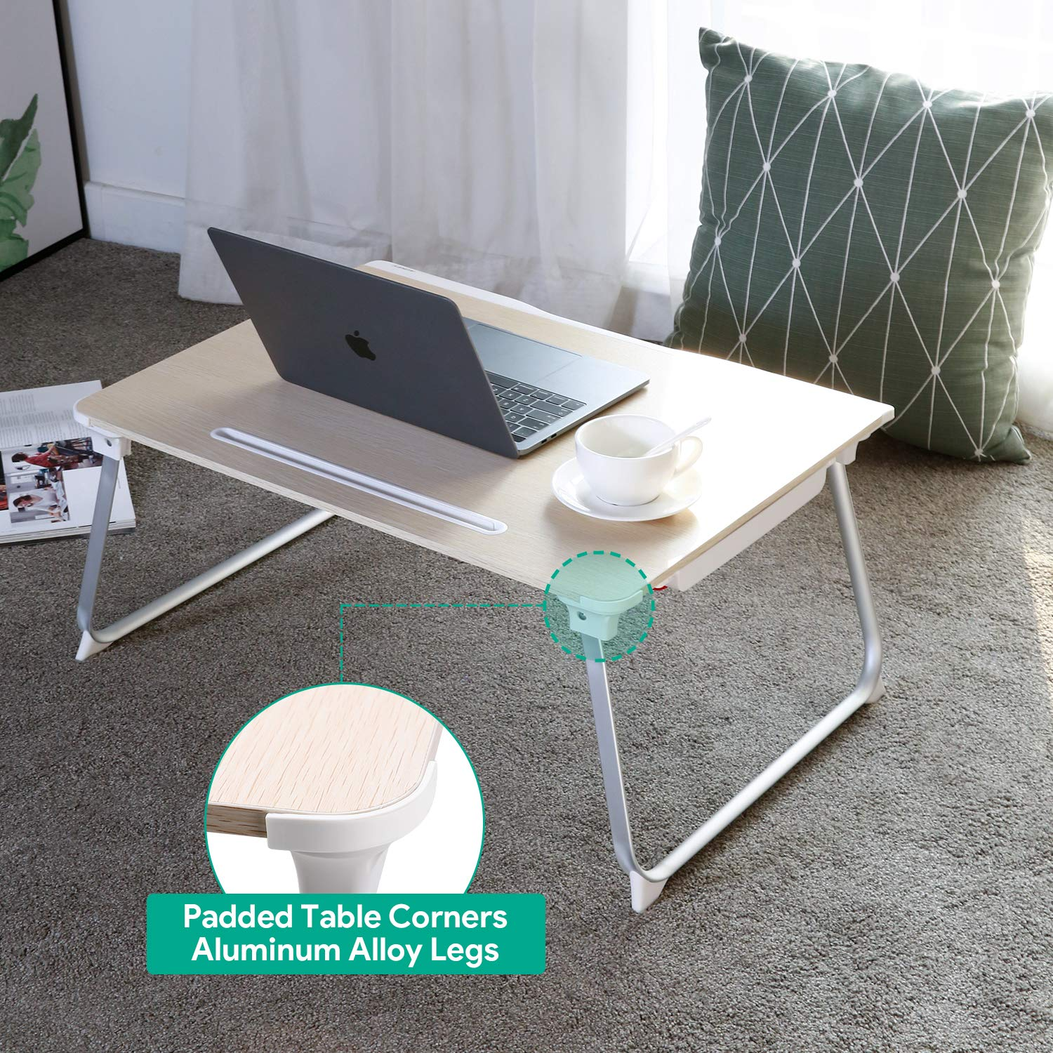 AUKEY Laptop Bed Table (Large Size) Foldable Portable Laptop Stand with Aluminum Alloy Legs, Book Stand and Drawer for Reading, Writing, and Working by AUKEY (Image #3)