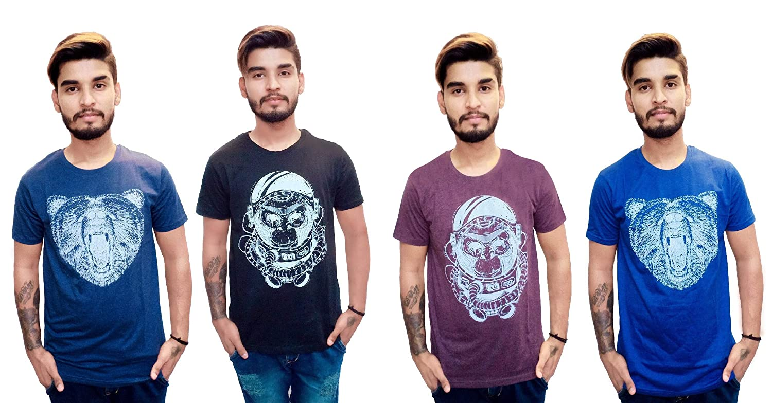 f65fcaf58c7f Timbre Men Cotton T-Shirt Short Sleeves Medium Length T Shirts (Pack of 4)  Blue, Black,Dark Blue and Brown: Amazon.in: Clothing & Accessories