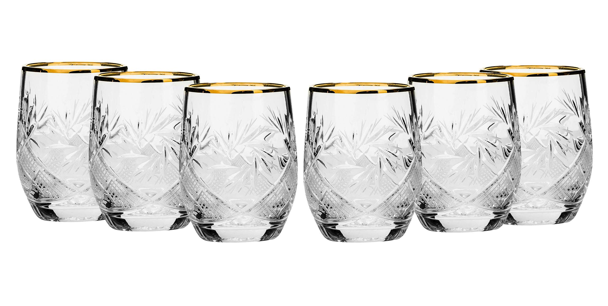 SET of 6 Russian Cut Crystal Shot Shooter Glasses 24K Gold Rimmed 1.7 Oz. Vodka Liquor Old-fashioned Glassware Hand Made by Neman Crystal