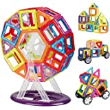 INTEY Magnetic Building Blocks 66pcs Magnetic Construction Set Toddlers Toys with Ferris Wheel & Guide Booklet for Edutainment Toys for Kids