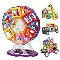 INTEY Bloc de Construction Magnétique,66 Pièces Jouet Intellectuel DIY Jeux Magnetique Enfant Educatif et Créatif Cadeau Anniversaire Fête