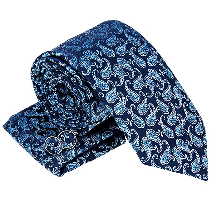 f147eeb99f2b Retreez Classic Paisley Pattern Woven Men's Tie Necktie with matching Pocket  Square and Cufflinks, Gift