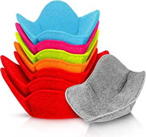 8 Pieces Multi Color Microwave Safe Bowl Huggers Heat Resistant Bowl Holder Polyester Hot Bowl Holder Plate Huggers Protect Your Hands from Hot Dishes for Heating Soup, Leftover Food, Meals, Rice