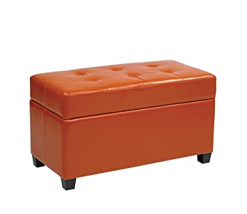 Amazoncom Office Star Metro Vinyl Storage Ottoman with Espresso