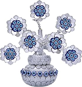 Turkish Evil Eye Flowers Tree with Silver Money Bag Feng Shui Ornament for Home Decor Protection Wealth Prosperity