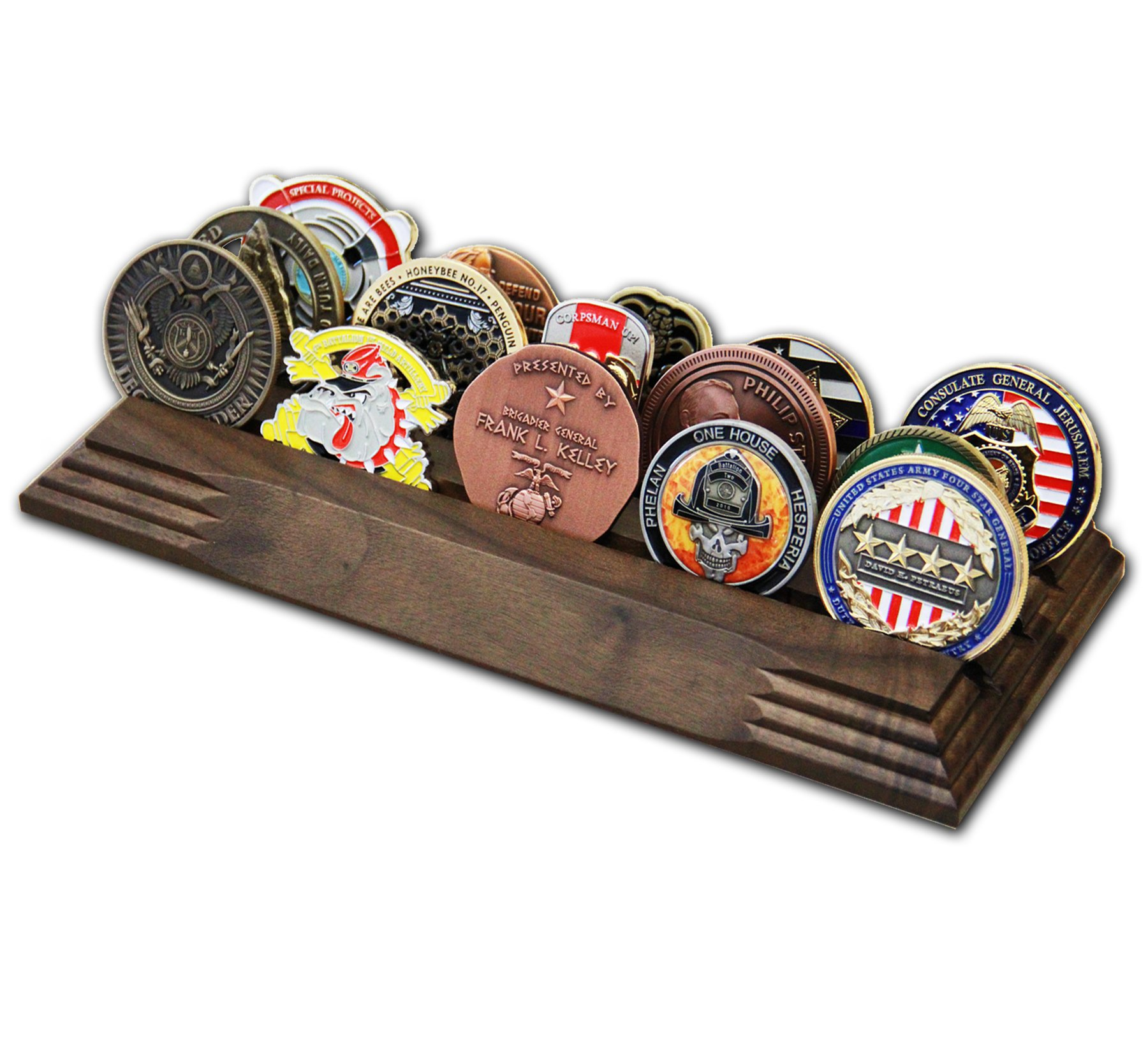 3 Row Challenge Coin Holder - Military Coin Display Stand - Amazing Military Challenge Coin Holder - Holds 14-19 Coins 3 Rows MADE IN THE USA! (SOLID Walnut) by Coins For Anything Inc