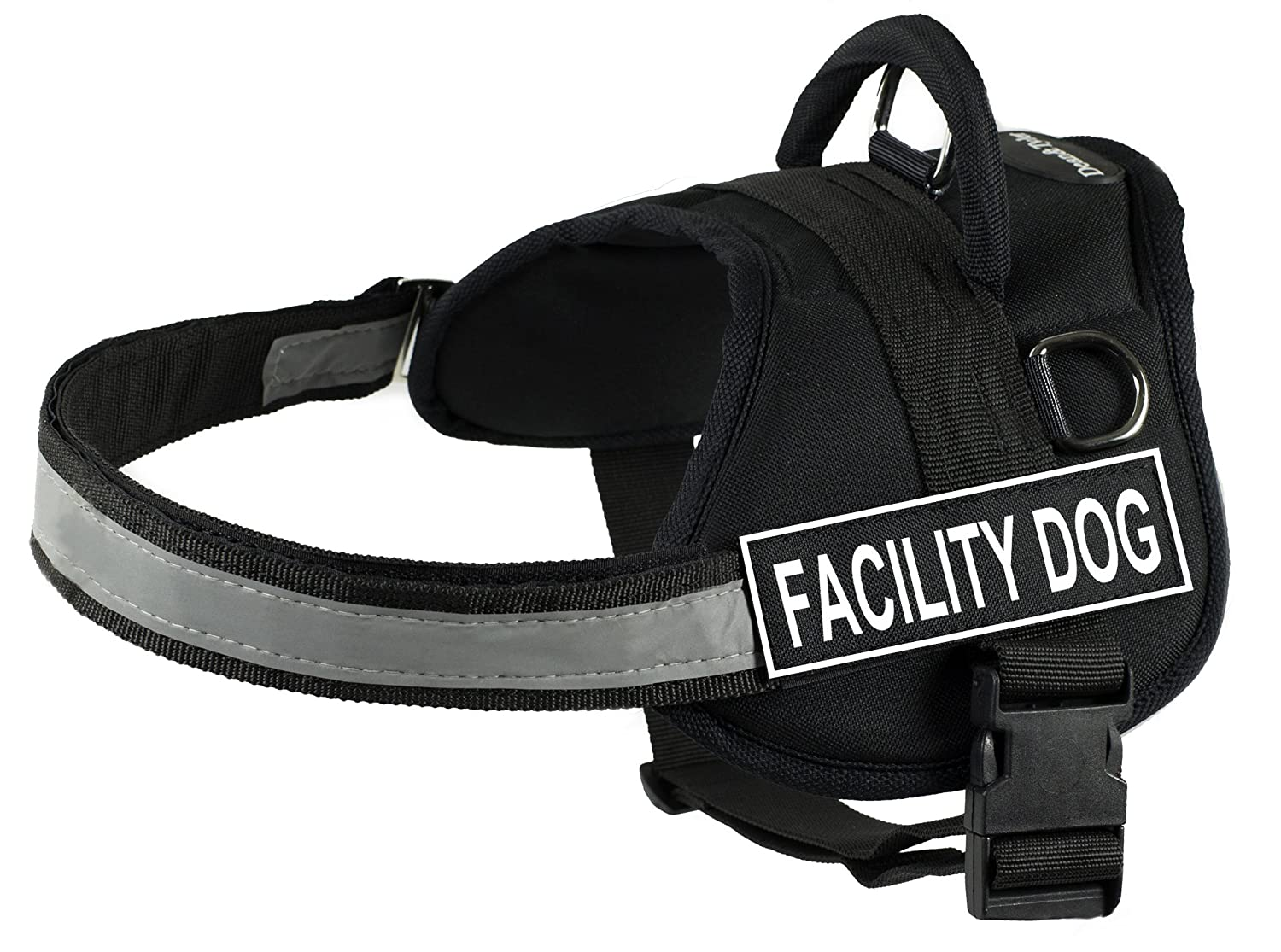 DT Works Harness, Facility Dog, Black White, Large Fits Girth Size  34-Inch to 47-Inch