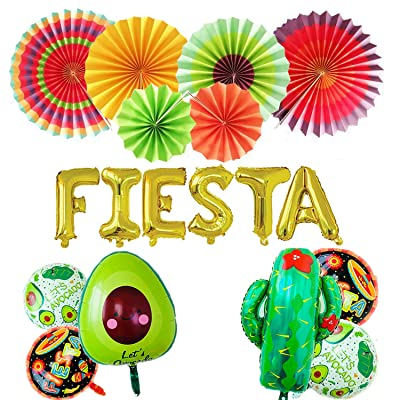 "FIESTA Party Foil Balloons, 24"" Large Cactus Balloon And 5 party theme round balloons,6 Colorful Paper Fans- Mexican Party Supplies Decorations(Set of 18): Toys & Games"