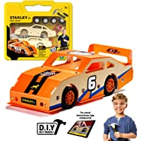 Stanley Jr Custom Orange Race Car - DIY Woodworking Model Kits for Kids - Easy to Assemble Race Car Building Set - Wood Race car Kit - Wooden Crafts - Paint & Decals Included