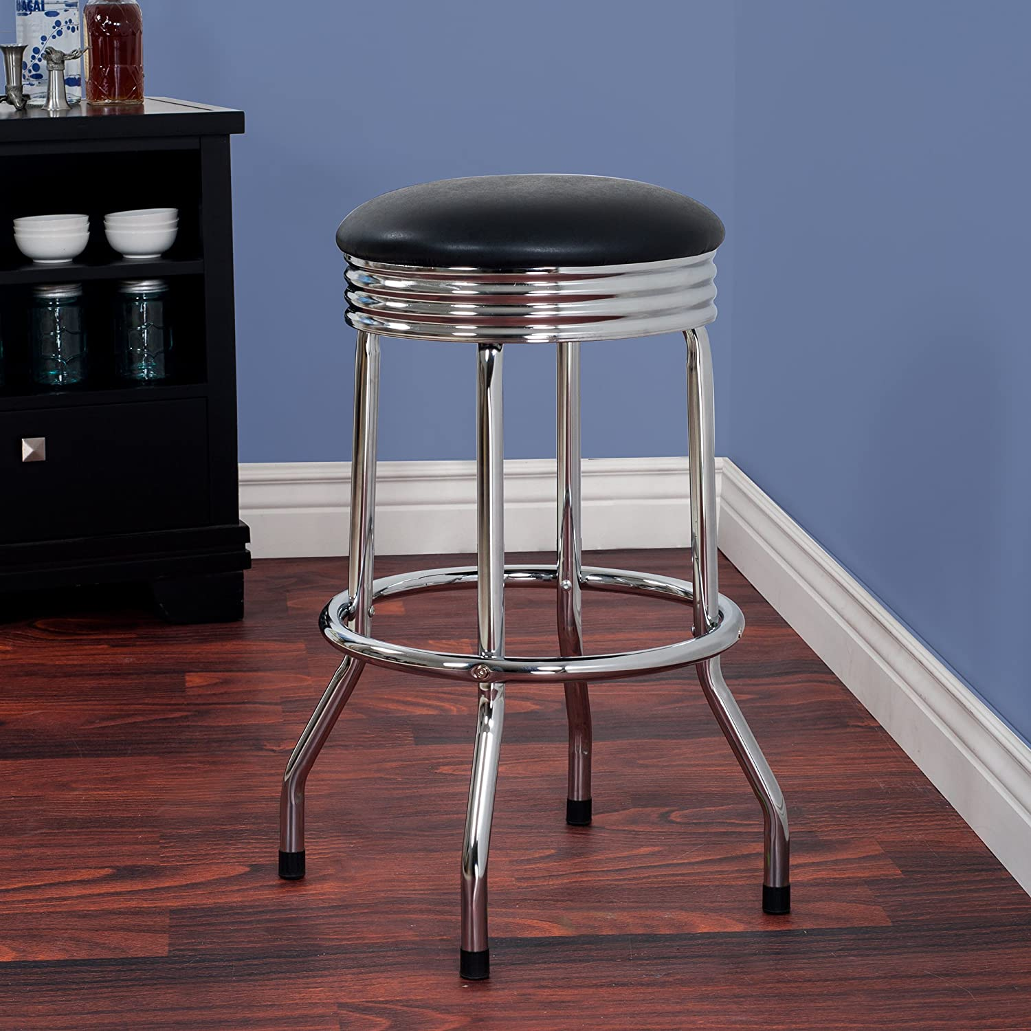 Chrome Everyday Home Trademark Gameroom Retro Ribbed Swivel Bar Stool
