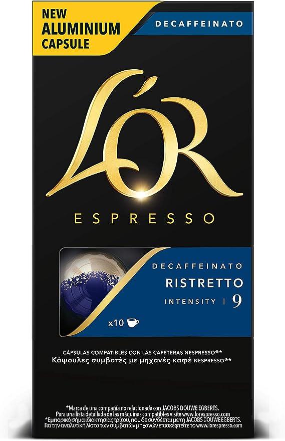 LOr Espresso Café Ristretto Decaffeinato Intensidad 9 - 40 cápsulas de aluminio compatibles con máquinas Nespresso (R)* (4 Paquetes de 10 cápsulas): Amazon.es: Alimentación y bebidas