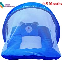 Nagar International Baby Luxury and High Quality Bedding Mattress Set with Mosquito Net in Polyester Fabric (Polyester Blue, 0-5 Months)