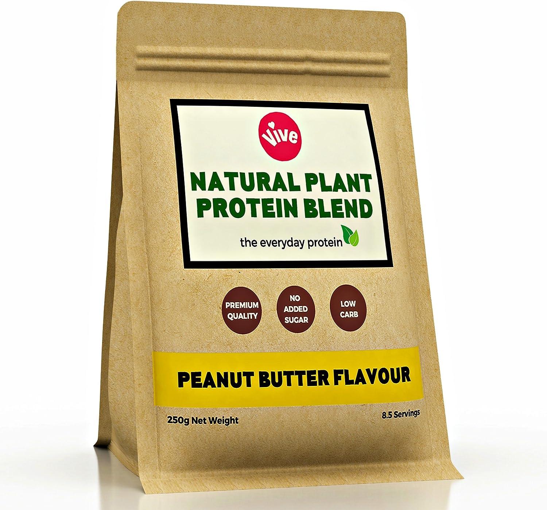 Mezcla de polvo de proteína vegana Vive, sabor a mantequilla de cacahuete | proteína de arroz y guisantes sin edulcorante