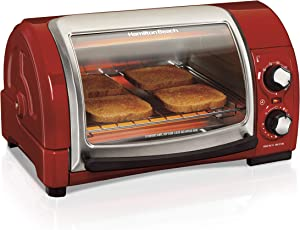 Hamilton Beach Easy Reach Countertop Toaster Oven, 4-Slices, Red (31337D) (Renewed)