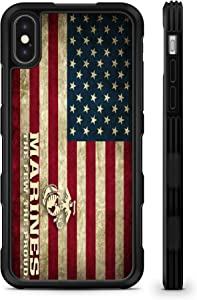 407Case Compatible with iPhone XR American Flag US Marines Hyper Shock Protective Rubber TPU Phone Case (iPhone XR)