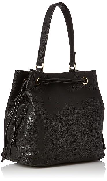 Moschino Borsa Small Grain Pvc Nero, Sacs portés épaule femme, (Black), 16x26x30 cm (B x H T)
