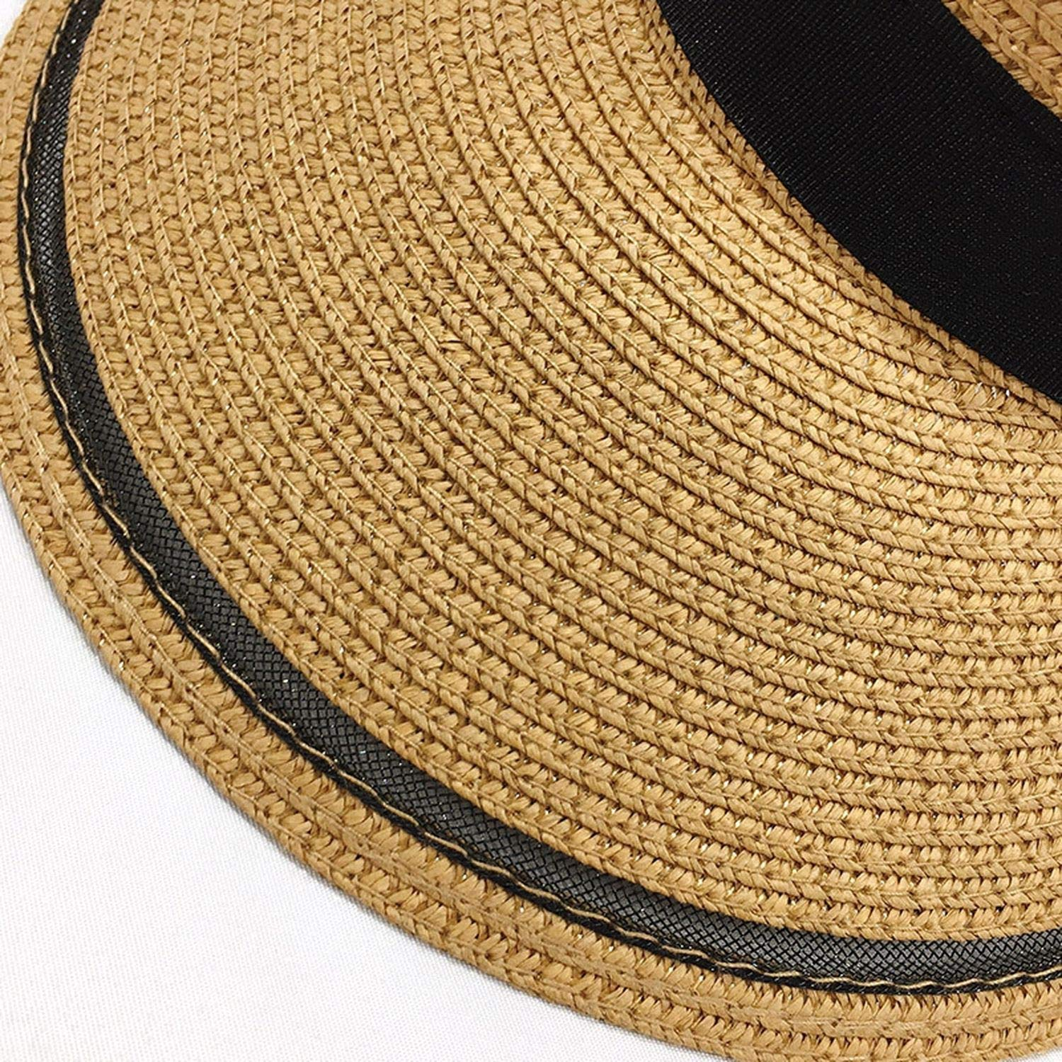 Summer Hats for Women Sun Visor Straw Hat with Ribbon Bow Foldable Beach Sunshade Outdoor Travel