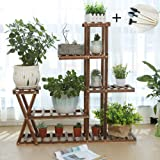Wooden Plant Stand Shelf 5 Tier Without Wheels Flower Pot Holder Display Multi-Shelvings Storage Rack for Plants…