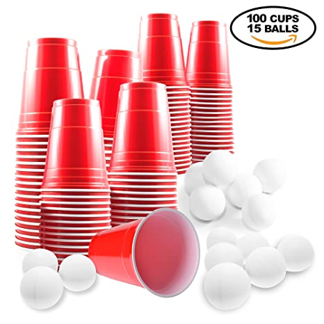 Set de Beer Pong Americano - 100 Vasos Rojos y 15 Bolas de Pimpón ...