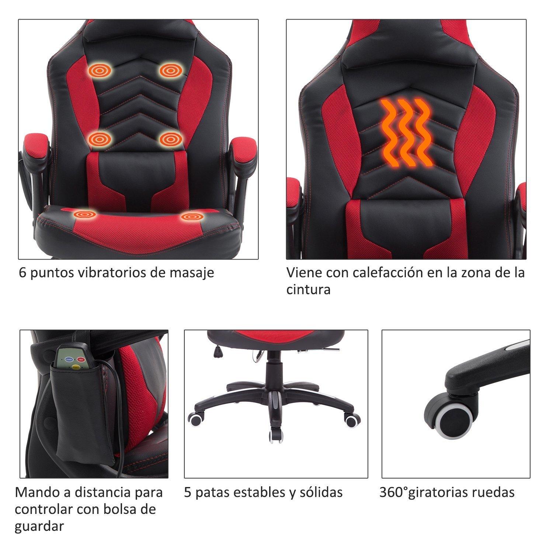 Homcom Silla de Oficina Gaming Reclinable y Giratoria con 6 Puntos de Masaje y Calefacción Tipo Sillón de Escritorio 68x69x108-117cm (Negro y Rojo)…