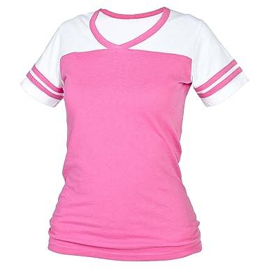 Amazon.com: Fuschia Pink Powder Puff V Neck Neck Tee Shirt T-Shirt ...
