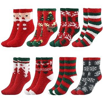 TUPARKA 8 Pares Calcetines de Navidad Calcetines Suaves para Mujer Calcetines Suaves de Invierno (8 Pairs Christmas Socks): Amazon.es: Hogar