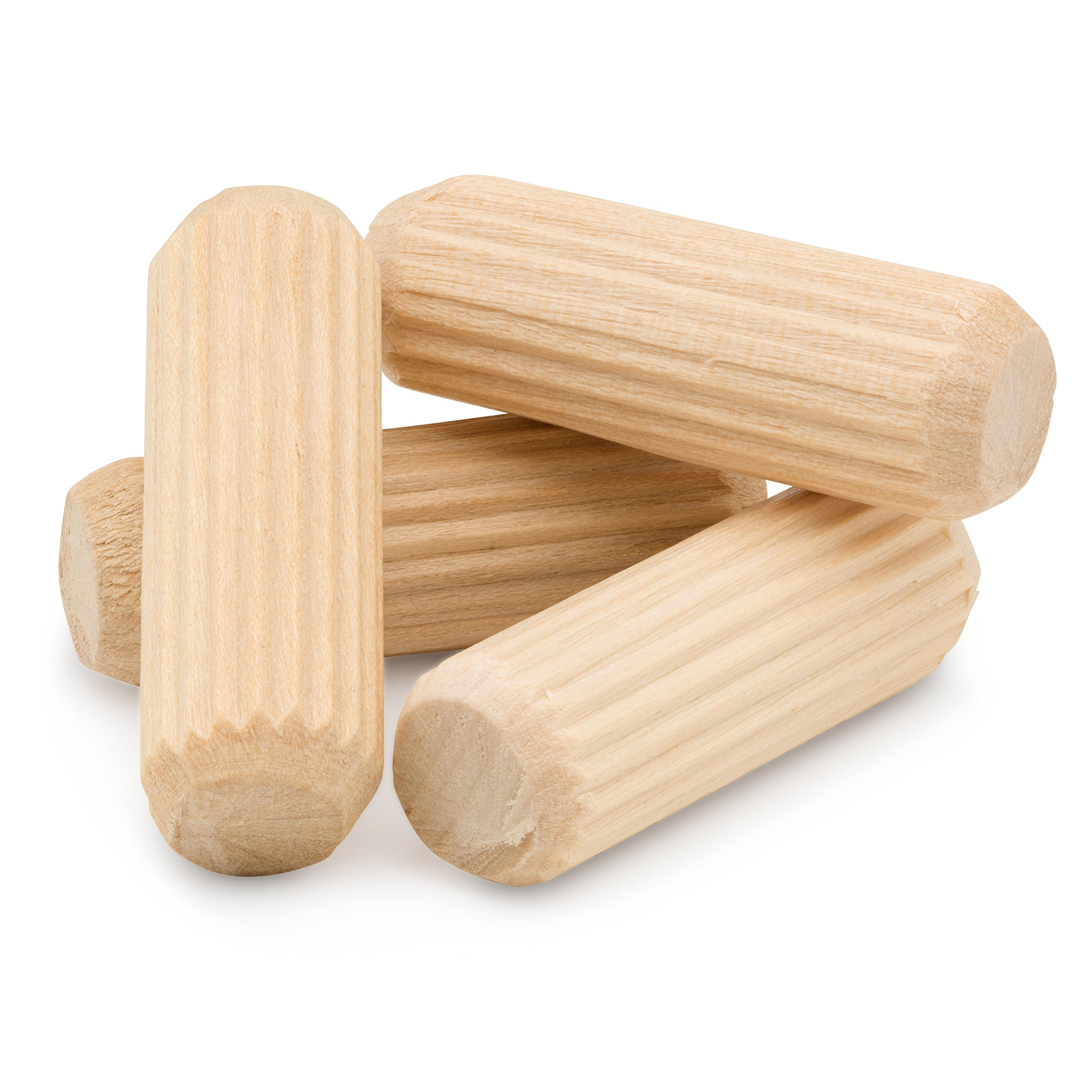Wood Dowel Pins 3/8'' x 1-1/2'' - Pack of 250 Straight Fluted Hardwood Dowel Pins with Beveled Ends Tapered for Easier Insertion - by Woodpeckers