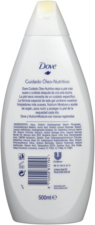 Dove Argan Cuidado Óleo Nutritivo Gel de Ducha - 500 ml: Amazon.es: Amazon Pantry