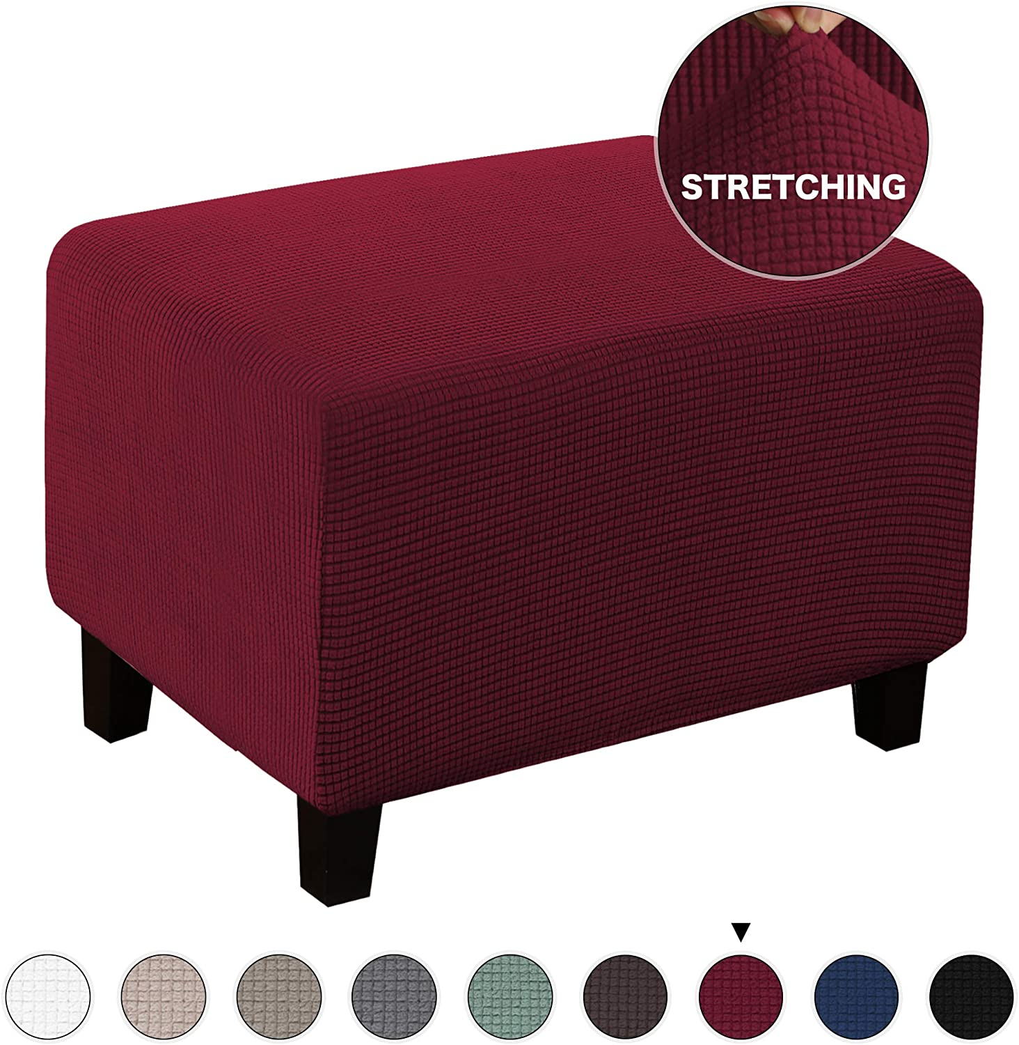 Ottoman Slipcover Stretch Rectangle Storage Stool Ottoman Cover for Living Room Folding Storage Stool Furniture Protector Soft Rectangle slipcover with Elastic Bottom (Ottoman, Burgundy)