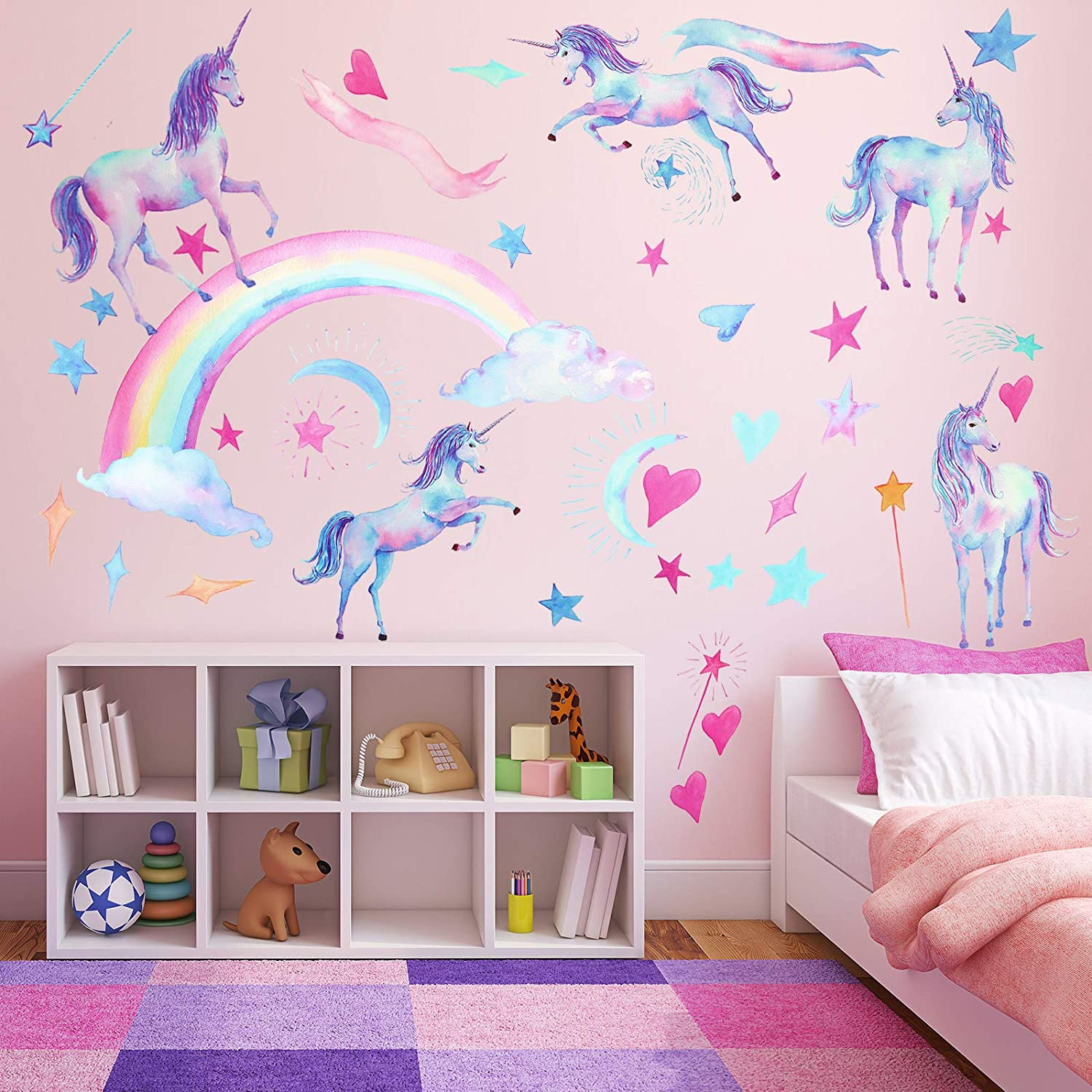 Unicorn Rainbow Wall Decal Watercolor Unicorn Wall Sticker Removable Unicorn Decor Sticker Star Cloud Wall Decals for Kids DIY Room Party Playroom Bedroom Living Room Decoration