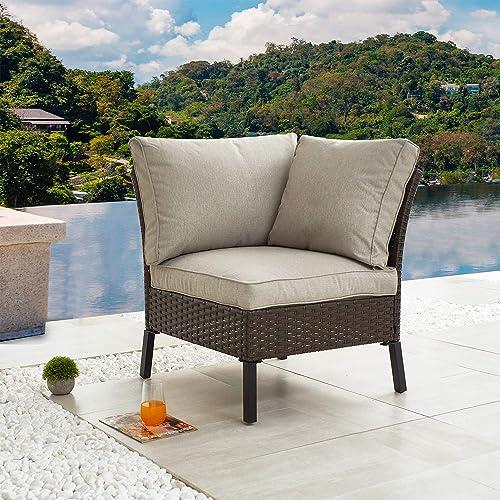 Festival Depot Outdoor Patio Conversation Chair Sectional Corner Sofa Wicker Rattan Chair