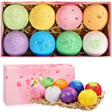 8 Bath Bombs Gift Set, 3oz Large Fizzies Bombs with Natural Essential Oils, Epsom Salt, Shea and Coco Butter Dry Skin Moisturize, Perfect for Bubble & Spa Bath, Women, Men, Boys, Girls, Kids